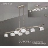 Cuadrax Telescopic Pendant 8 Light Polished Chrome. Convertible To Semi Flush (Short Rod Included).