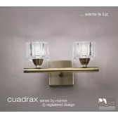 Cuadrax Wall Lamp 2 Light Antique Brass Switched