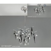 Diyas Cygnet Ceiling 10 Light Polished Chrome/Black/Crystal