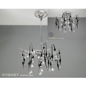 Diyas Cygnet Pendant 12 Light Polished Chrome/Black/Crystal
