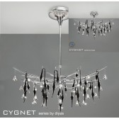 Diyas Cygnet Pendant Oval 11 Light Polished Chrome/Black/Crystal