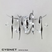 Diyas Cygnet Wall Lamp 3 Light Polished Chrome/Black