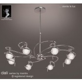Dali Telescopic Pendant Round 8 Lights Polished Chrome