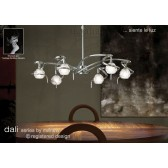 Dali Telescopic Pendant Round 6 Lights Polished Chrome