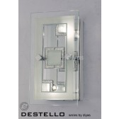 Diyas Destello Wall/Ceiling 2 Light Rectangle With Square Pattern Polished Chrome/Crystal