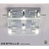 Diyas Destello Ceiling 6 Light Square Polished Chrome/Crystal
