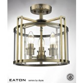 Diyas Eaton Semi Flush 3 Light Antique Brass