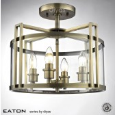 Diyas Eaton Semi Flush 4 Light Antique Brass