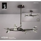Eclipse Pendant 4 Light Black Chrome (Semi flush Convertible)
