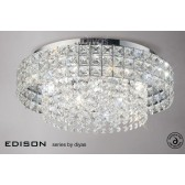 Diyas Edison Ceiling Large Round 7 Light Polished Chrome/Crystal