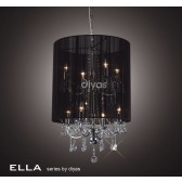 Diyas Ella Pendant 8 Light Polished Chrome/Crystal With Back Shade