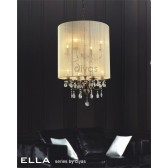 Diyas Ella Pendant 8 Light Antique Brass/Crystal With Ivory Cream Shade