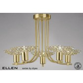 Diyas Ellen 5 Light Pendant Satin Brass/Crystal