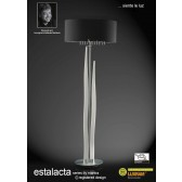 Estalacta Floor Lamp 3 Light With Shade Silver/Opal White/Black Indoor