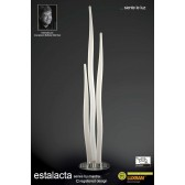 Estalacta Floor Lamp 3 Light Silver/Opal White Indoor