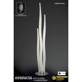 Estalacta Floor Lamp 3 Light Outdoor Silver/Opal White IP44