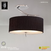 Eve Semi Ceiling 2 Light Polished Chrome With Black Shade