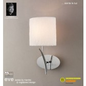 Eve Wall 1 Light Polished Chrome With White Shade Switched