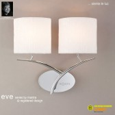 Eve Wall 2 Light Polished Chrome With White Shade