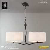 Eve Pendant 4 Light Antracite With White Shade