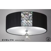 Diyas Evelyn Ceiling 3 Light Polished Chrome/Crystal With Black Shade