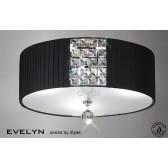 Diyas Evelyn Ceiling 3 Light Polished Chrome/Crystal With Black Shade