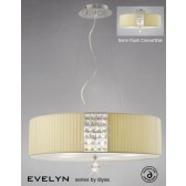 Diyas Evelyn Pendant 5 Light Polished Chrome/Crystal With Cream Shade