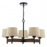 Ewan 5 Light Pendant Dark Wood complete with Shds