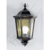 Franklite Boulevard Flush Wall Lantern - Matt Black with Gold Details, IP44