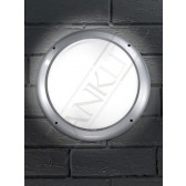 Franklite Lorenz Exterior Circular Flushmount Fitting (340mm) - Silver Grey, Opaque Diffuser, IP66
