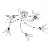 Fabrienne 5 Light Semi Flush Polished Chrome With Flower Shade