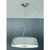 Franklite Panache Pendant Light - Satin Nickel and Chrome, Complete with Silver Shade