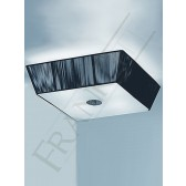 Panache 500mm Square Flush Ceiling Light - Satin Nickel and Chrome, Complete with Black Shade