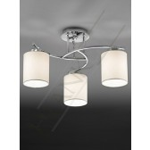 Franklite Hexx Semi Flush Ceiling Light - 3 Light, Chrome, Complete with Vivace Shades