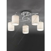 Franklite Hexx Semi Flush Ceiling Light - 5 Light, Chrome, Complete with Cream Shades