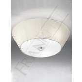 Franklite 490mm Circular Flushmount Shade - Cream Shade, With Satin Glass Diffuser