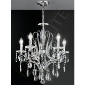 Franklite Brocade Chandelier - 5 Light, Chrome, Crystal Glass