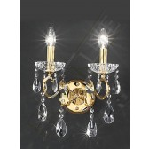 Franklite Chiffon Wall Light - 2 Light, Gold, Crystal Glass