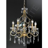 Franklite Chiffon Ceiling Light - 5 Light, Gold, Crystal Glass