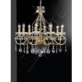 Franklite Chiffon Chandelier - 8 Light, Gold, Crystal Glass