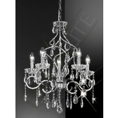 Franklite Chiffon Ceiling Light - 5 Light, Chrome, Crystal Glass