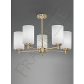 Franklite Decima Semi Flush Ceiling Light (Up) - 5 Light, Satin Brass, Complete with Shades