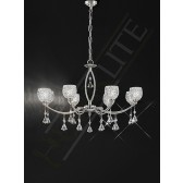 Franklite Sherrie Ceiling Light - 8 Light, Satin Nickel, Complete with Glass Shades