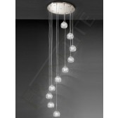 Franklite Tierney Modern Chandelier - 10 Light, Satin Nickel