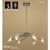 Flavia Telescopic Pendant 6 Light Round Antique Brass