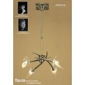 Flavia Telescopic Pendant 4 Light Round Antique Brass