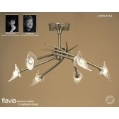 Flavia Semi Ceiling 6 Light Round Antique Brass