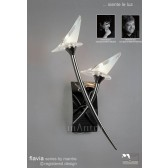 Flavia Switched Wall Lamp 2 Light Black Chrome