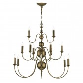 Flemish 15 Light Pendant - Aged Bronze