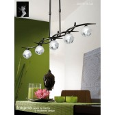 Fragma Pendant Line 5 Light Black Chrome